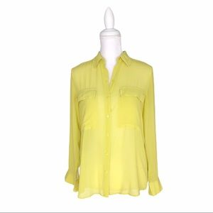 Club Monaco sheer silk yellow green blouse shirt S